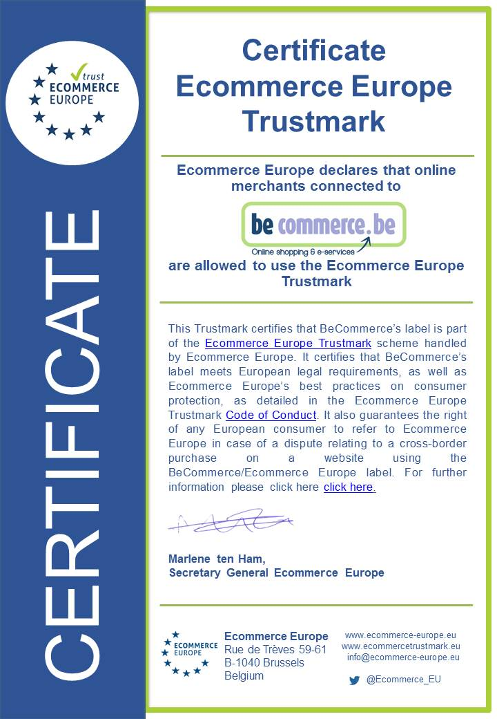 Ecommerce Europe certificate BeCommerce